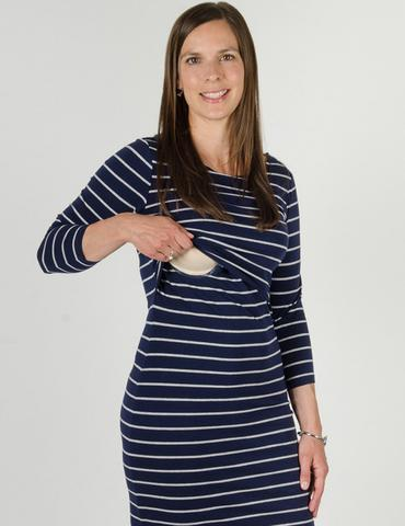 ... charlie 3/4 sleeve stripe u003cbru003e nursing dress MXHQNCS