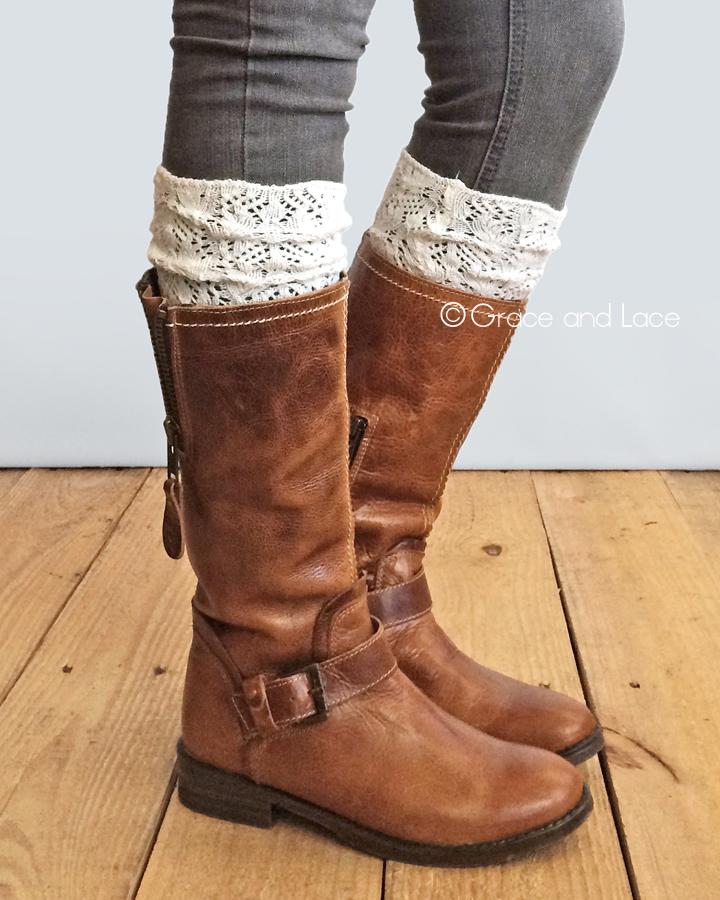 ... lace knit boot socks. ivory TOGOHEV