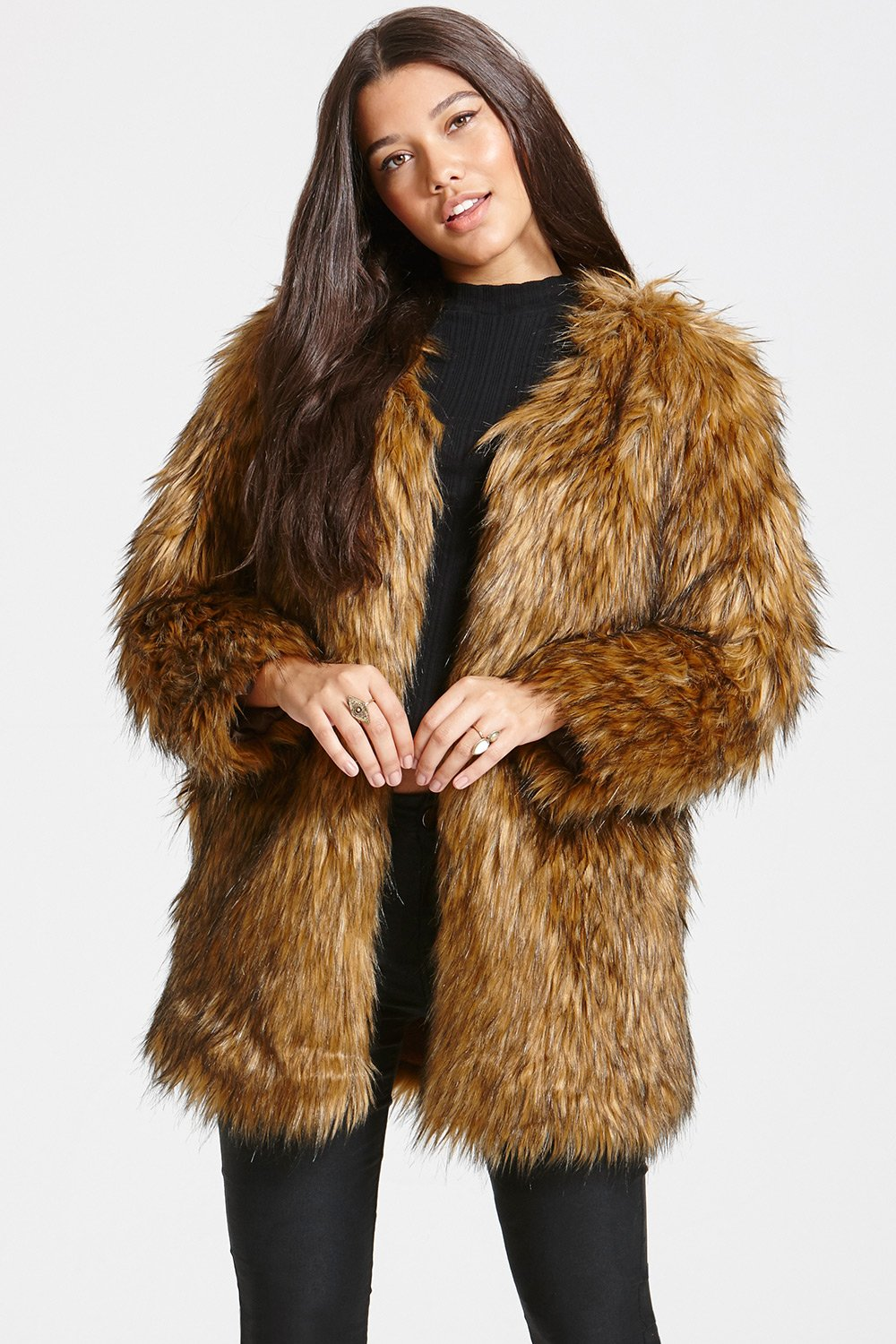 ... little mistress brown faux fur jacket ... NCHGENM