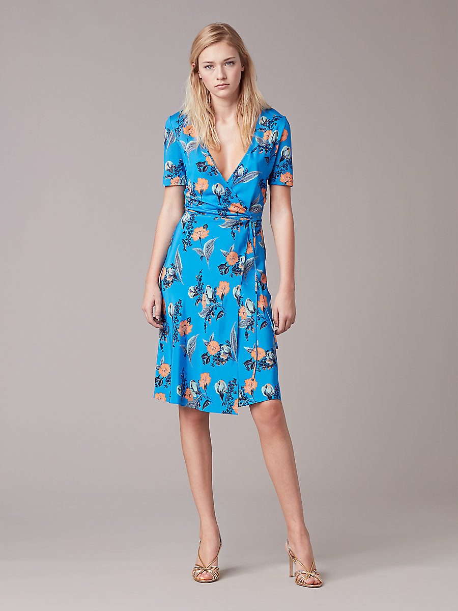 ... short sleeve flared wrap dress in silese tile blue by dvf LTUKFFU