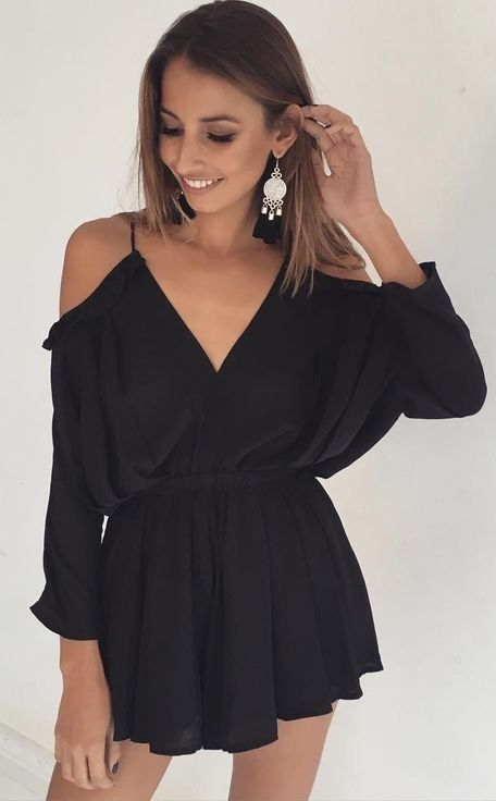 #summer #girly #outfitideas | black romper OSVCCHM