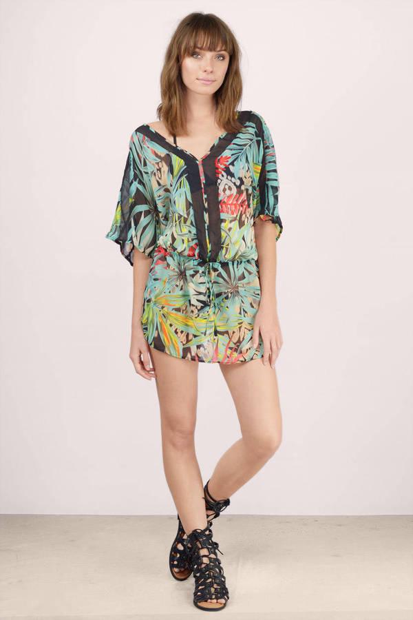 ... summer paradise black multi palm print tunic dress ISZOKRH