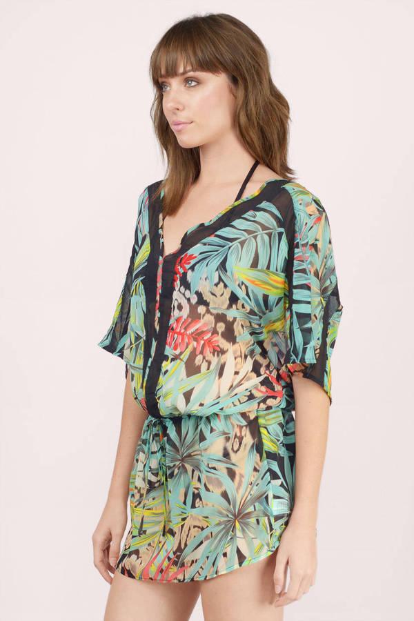 ... summer paradise black multi palm print tunic dress ... UIELJHC