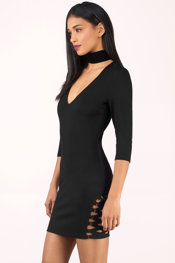 ... tobi club dresses, black, miss me much plunging bodycon dress, tobi HJTVGDT