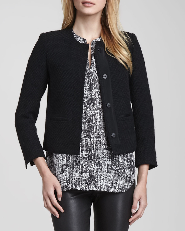... vince grosgrain trim boucle jacket black ... OCELEHW