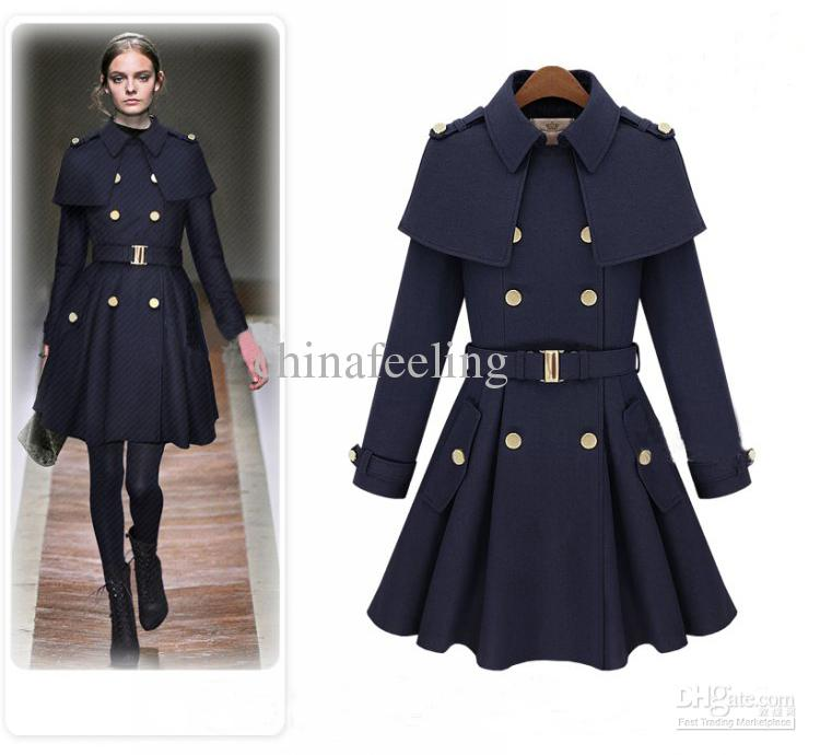 2014 autumn winter coats for women ladies long elegant overcoat outwear  navy blue/beige wool WFFOIIO