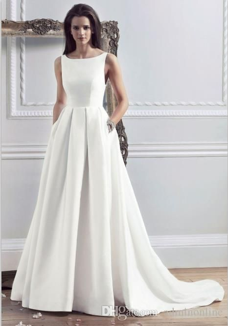 2016 new style custom made satin simple wedding dresses with pockets boat  neck pleated AXFMACG