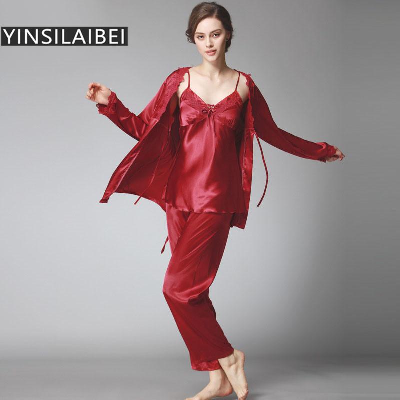 2016 winter silk pajamas for women satin pajama sets pijamas mujer feminino  winter pyjamas MAITWWC