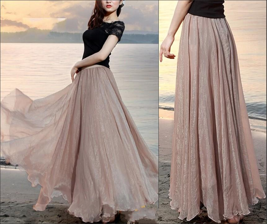 2017 2015 fashion nude long skirts for women floor length chiffon slik big  skirt PEYSVNY