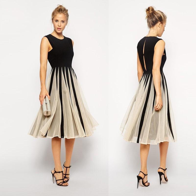 2017 cheap women summer casual dress 2016 vestidos sleeveless black chiffon  tulle net vintage BLISMGB