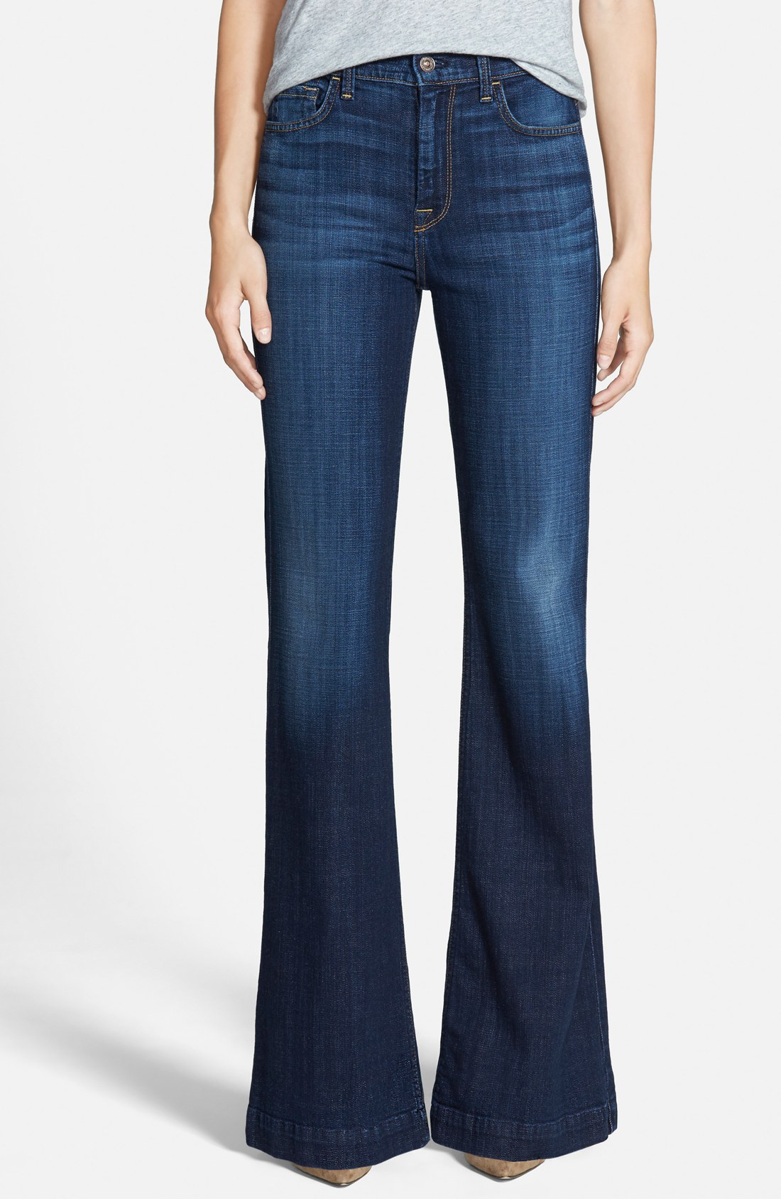 7 for all mankind® u0027gingeru0027 high rise flare jeans (royal broken twill) |  nordstrom QFUIWJL