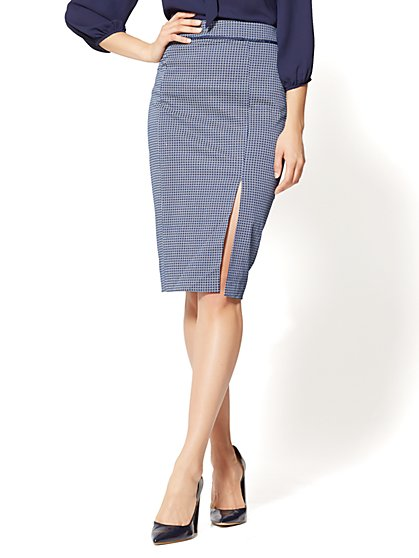 7th avenue - pencil skirt - navy - daisy print - new york u0026 company DANSXKZ