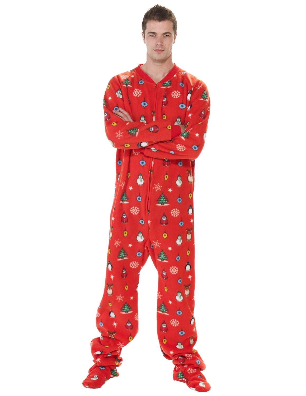 adult footed pajamas holly jolly christmas pajamas ©footed pajamas KIORKNU