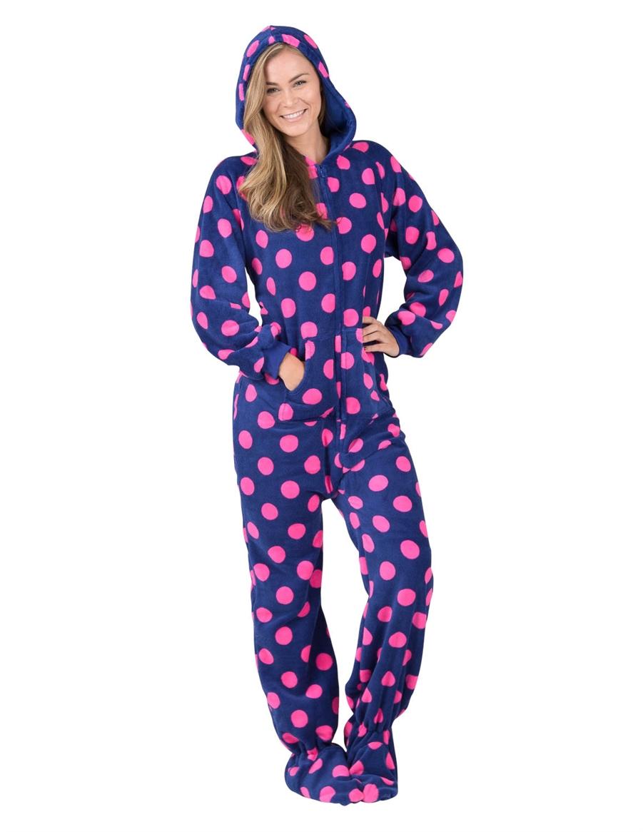 adult footed pajamas navy pink polka hooded footed pajamas GYJICOH