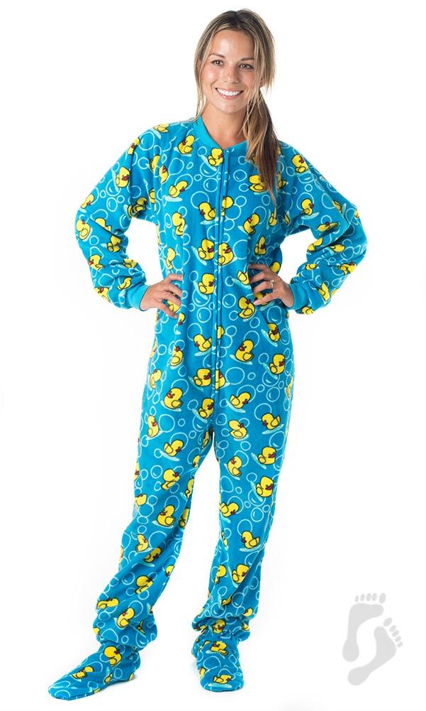 adult footed pajamas splish splash blue pajamas ©footed pajamas VDAGBZD