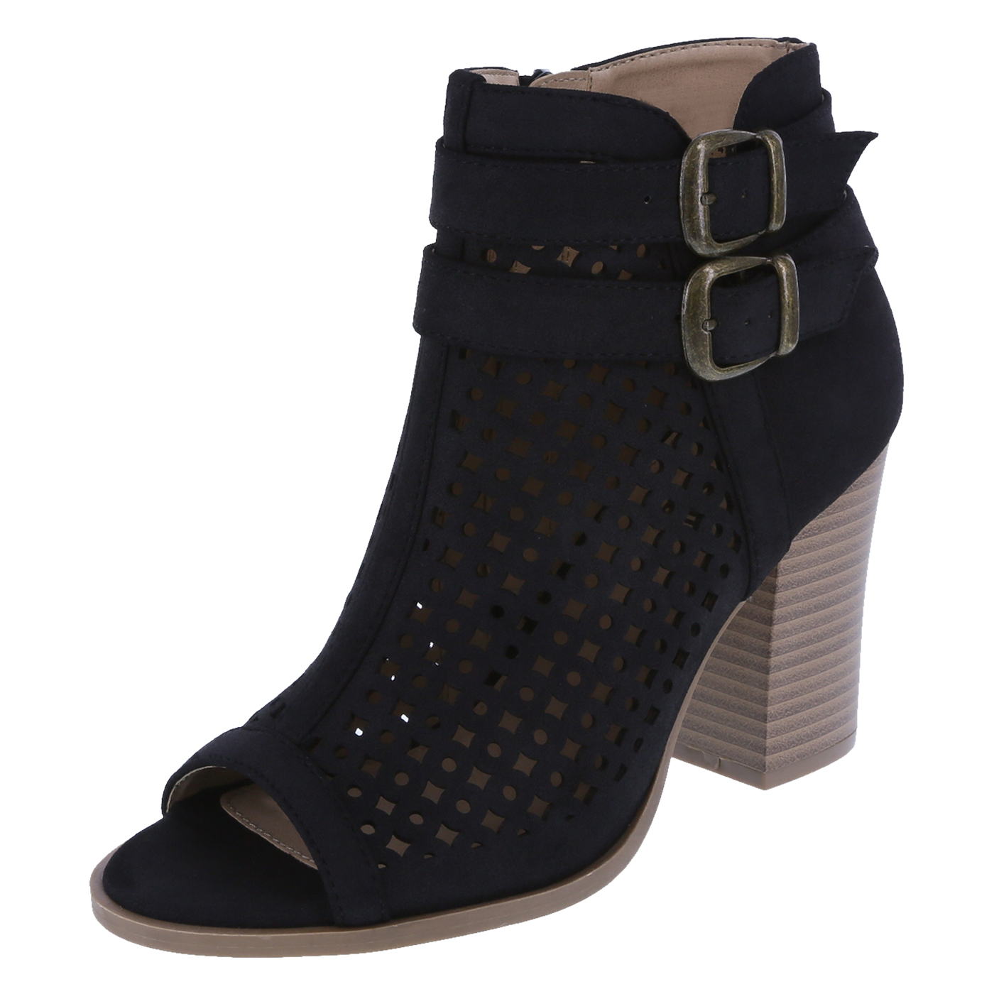 ankle boots for women womenu0027s madrid peep-toe bootie, black suede, hi-res EIRHZKQ