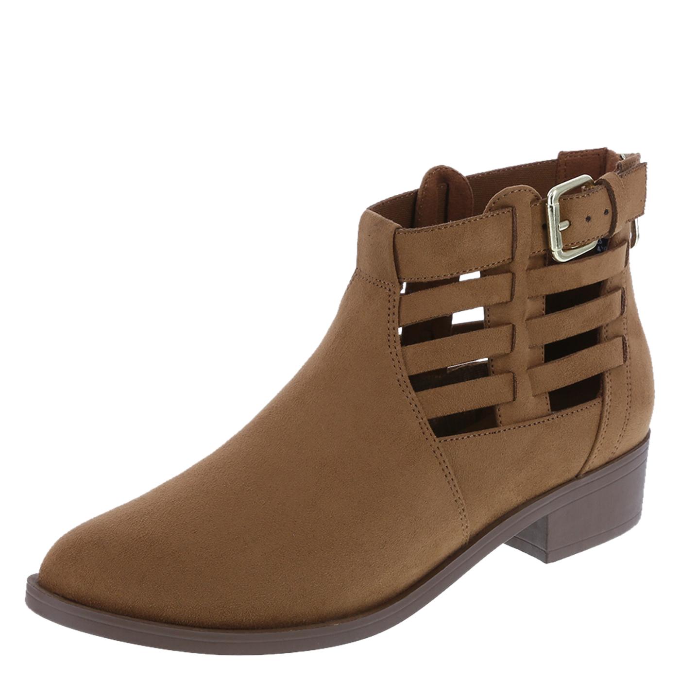 ankle boots for women womenu0027s slim cutout ankle boot, cognac suede, hi-res JWPDLIS