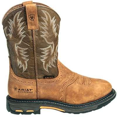 ariat boots: menu0027s 10008633 waterproof brown pull-on workhog cowboy boots YCETUCP