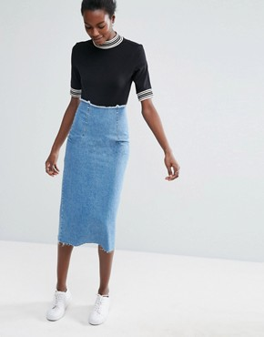 asos denim midi pencil skirt in mid wash blue TPIIXDY