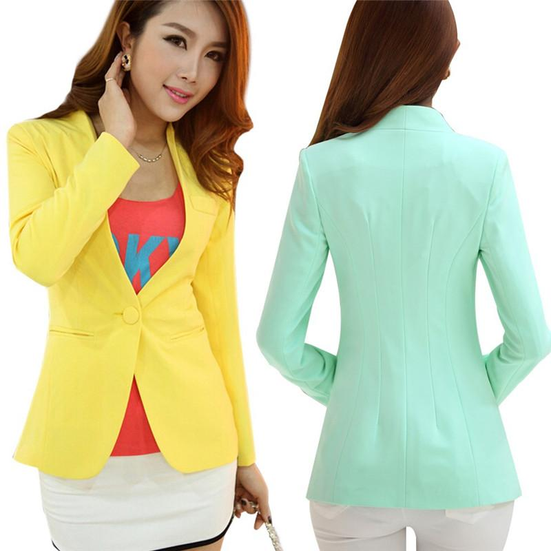 autumn women blazers and jackets candy color jacket long sleeve slim suit  one button VINTYKM