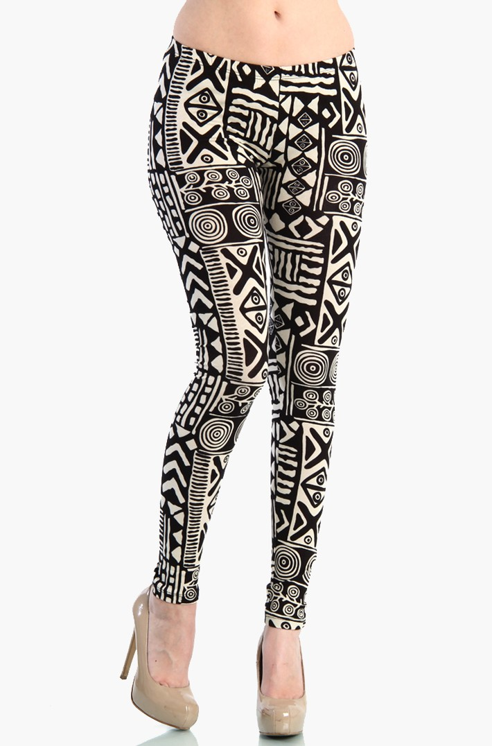 aztec leggings - black / white ZQTFBKU