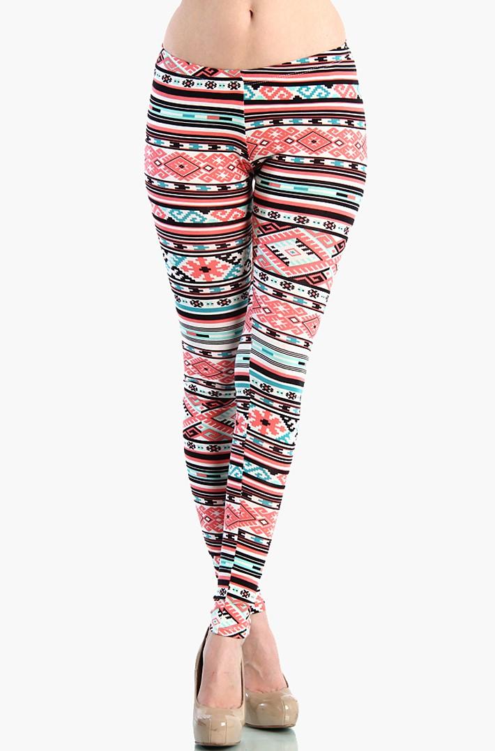 aztec leggings - coral / mint GDFEXPA