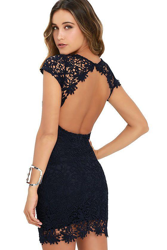 backless dress hidden talent backless navy blue lace dress STDBGJB