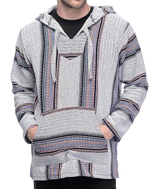 baja hoodie senor lopez punta logo palmita grey, burgundy u0026 navy poncho FRRRQJP