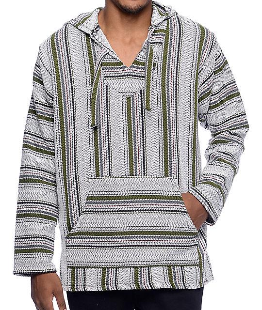 baja hoodie senor lopez quintero palmita white, grey u0026 olive poncho HJPLOYW