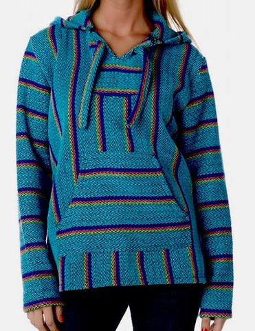 baja hoodie - turquoise/yellow - mexican threads FTWPPEN