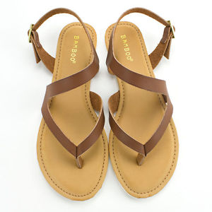 bamboo shoes image is loading womens-chestnut-brown-t-strap-strappy-sandal-bamboo- FTWITMO