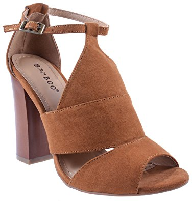 bamboo shoes womenu0027s embark-05m chestnut open peep toe ankle strap block  chunky high heel IFZRHPM