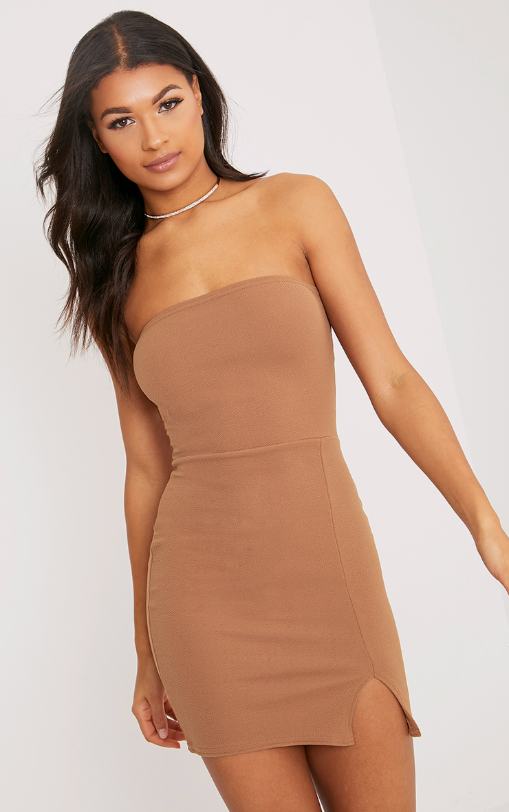bandeau dress layala camel split detail bandeau bodycon dress TDXSMAC