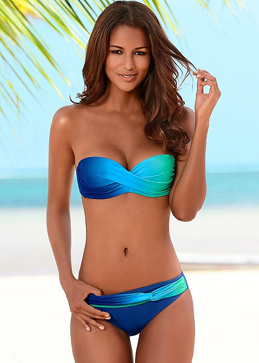 bandeau tops twist bandeau top, ombre moderate bottom DZJOIIC