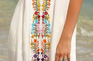 beach dresses soft and flowey beach dress. embroidery is just as pictured. was surprised  it came XIYCCOO