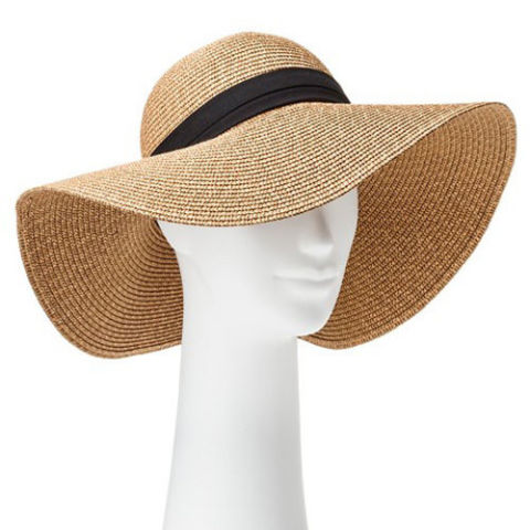beach hats target tan floppy hat with black band PMEDPHX
