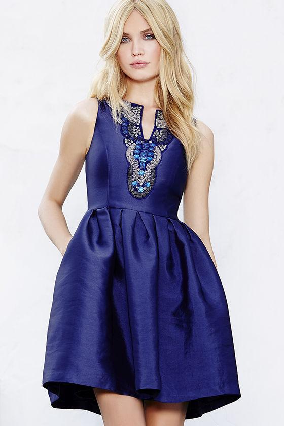 beautiful royal blue dress - beaded dress - skater dress - $109.00 YLCJGXK