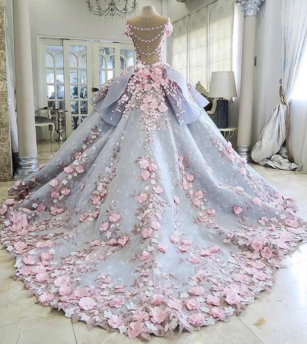 beautiful wedding dresses blue and pink princess wedding dress PKOWTLA