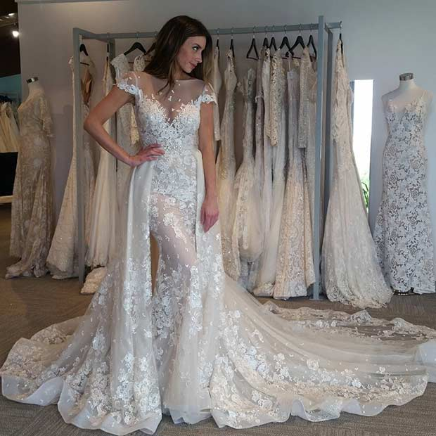 beautiful wedding dresses unique lace wedding dress with short sleeves REEHBWH