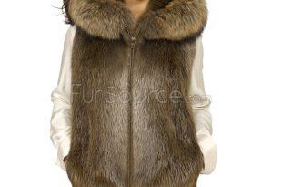 beaver fur vest with raccoon hood JFXKIMB