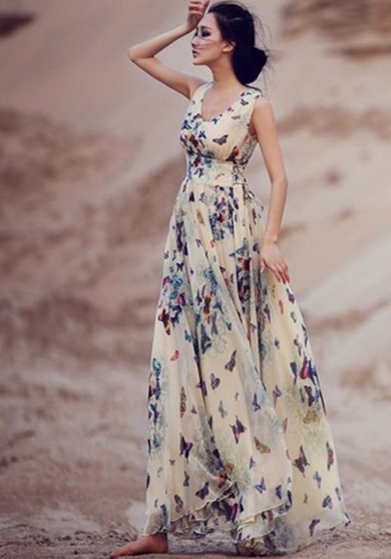 beige butterfly print sleeveless bohemian chiffon maxi dress CZCSJNS
