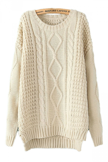 beige white diamond cable knit sweater WFSYTKL
