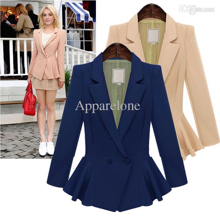 best wholesale plus size women blazers and jackets single button ruffle  peplum waist longsleeve GYGRQSG