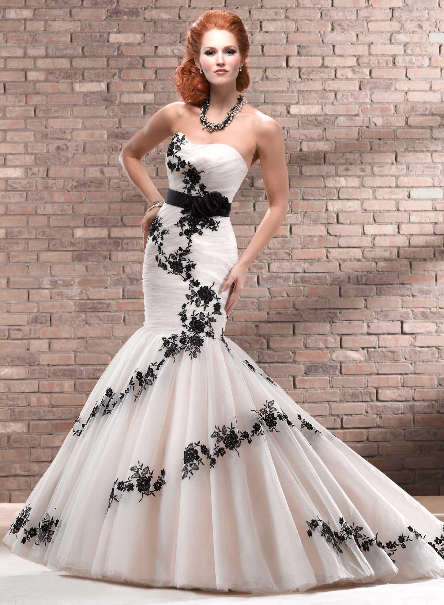black and white wedding dress 1 starpless black u0026 white wedding dress ZVLFRIL