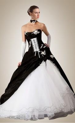 black and white wedding dress hot floor-length black and white lace-up wedding dress JXEYBCH