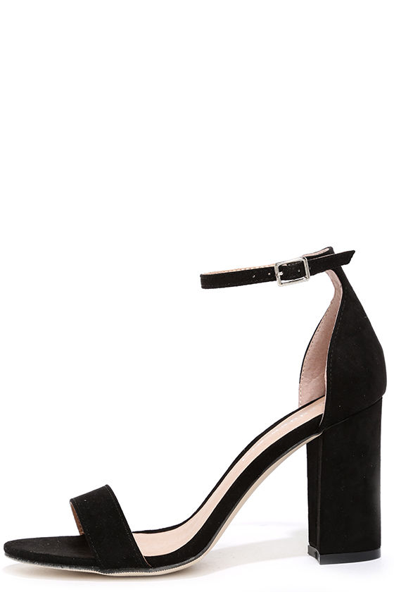 black ankle strap heels cute black heels - ankle strap heels - black shoes - $49.00 WZENNCI