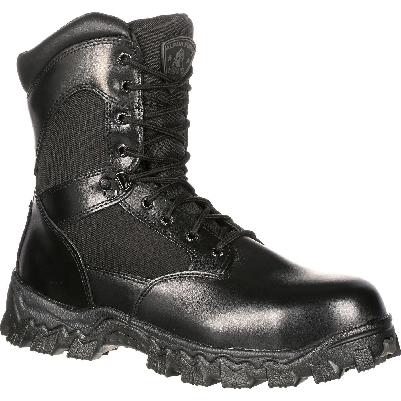 black boots rocky alphaforce zipper waterproof duty boot, , large RWOHJOR