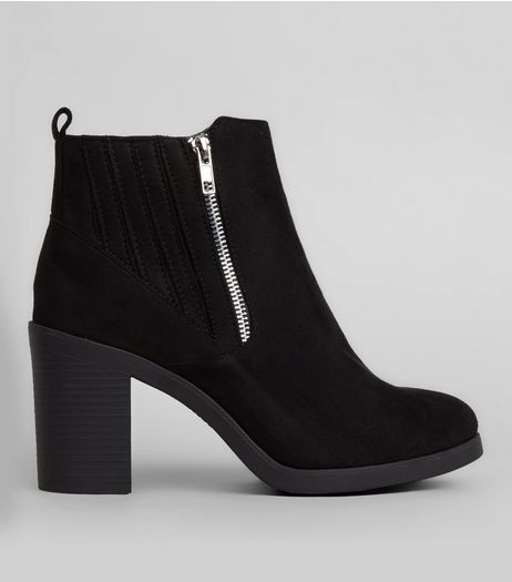 black boots wide fit black suedette stitch trim chelsea boots | new look ZYUVPAH