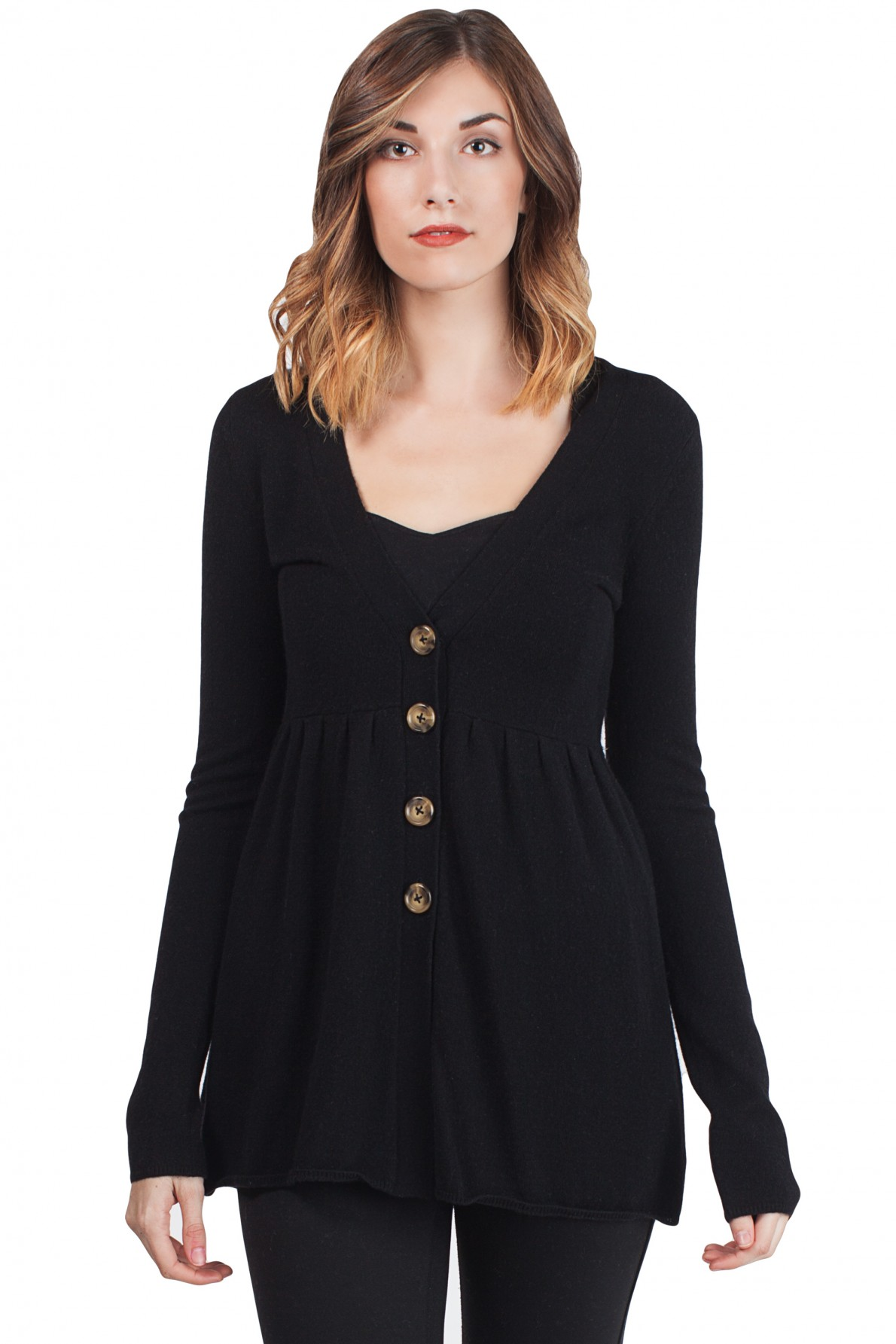 black cashmere deep v neck empire long sleeve tunic cashmere cardigan front  view TOCKKYD