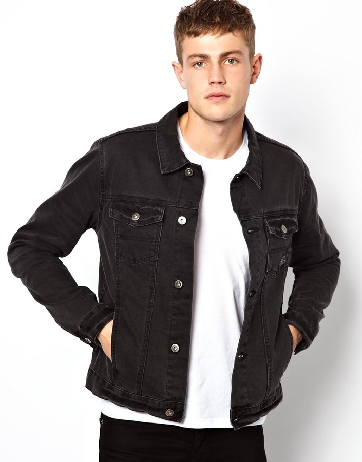 black denim jacket ... black denim jackets asos denim jacket with distressed effect ... YFGMVKK